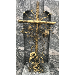 Duży krzyż kuty - jasne złoto